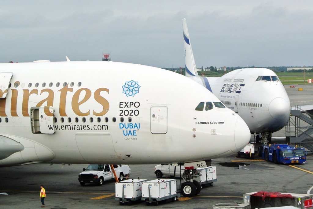 Emirates A380 and El Al 747 at Kennedy airport, 2014.