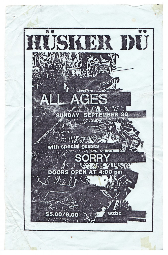 Concert flyer, Boston, 1984.  (Author's collection)