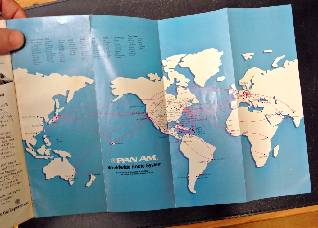 1983 Pan Am timetable with route map.