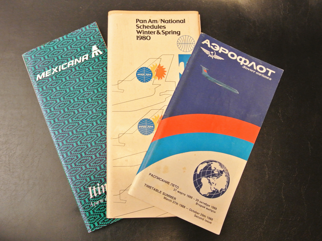 Airline timetables. Author's collection.