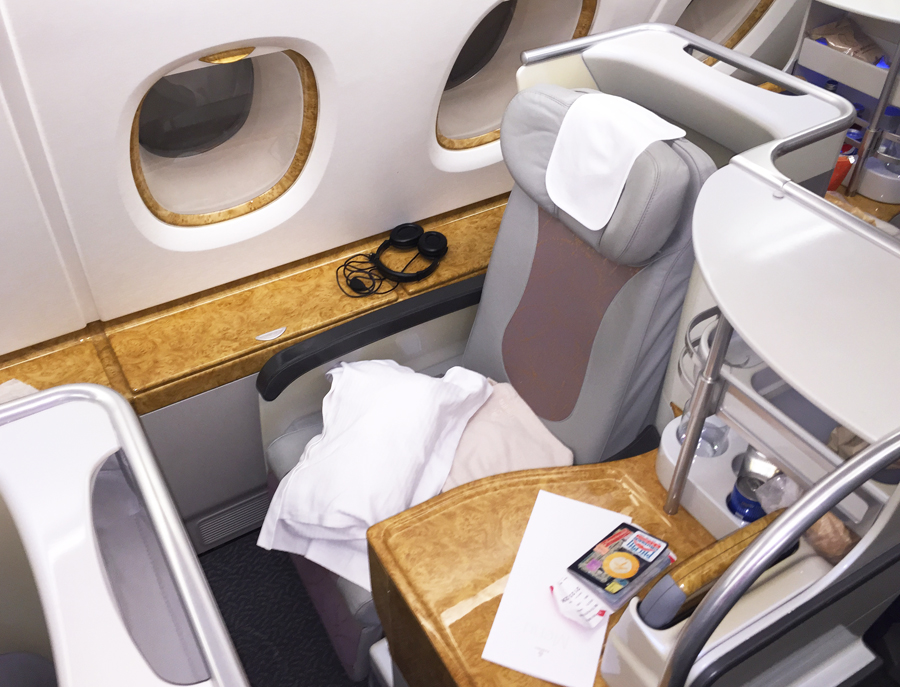 Business class digs on the A380. What could possibly ruin this?   Photo by the author.