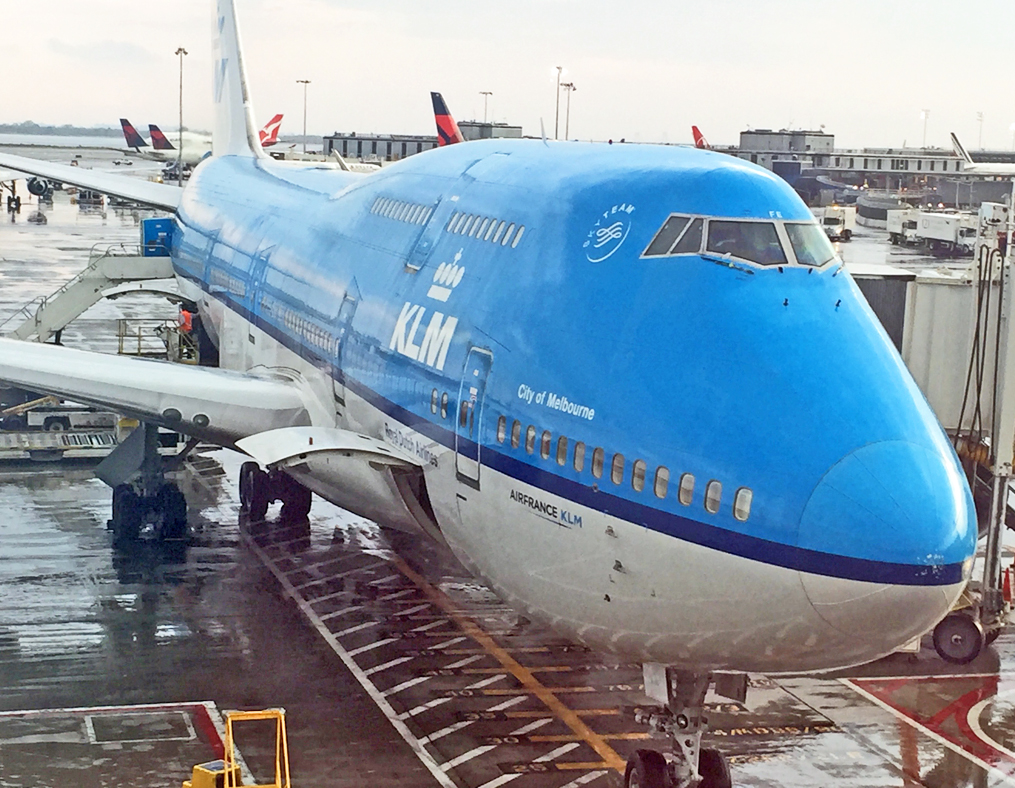 KLM at JFK rainshower